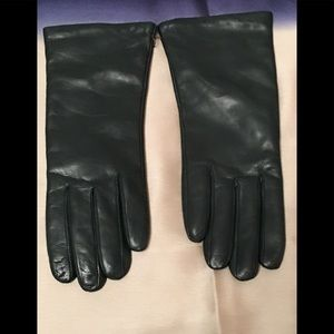 Accessories - Dark Teal Leather Gloves with Cashmere Lining.